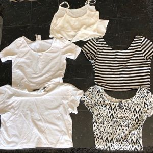 Bundle of 5 Small Black and White Crop Tops